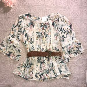 LC Lauren Conrad Tops - LC Size L Shear Floral Blouse/Tunic